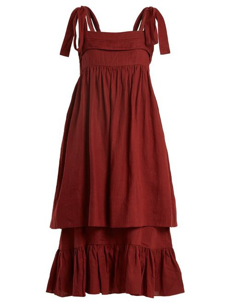 Three Graces London - Marianne Sleeveless Linen Midi Dress - Womens - Burgundy