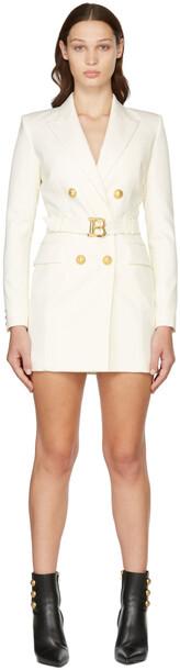 Balmain Off-White Wool Logo Belt Blazer Dress