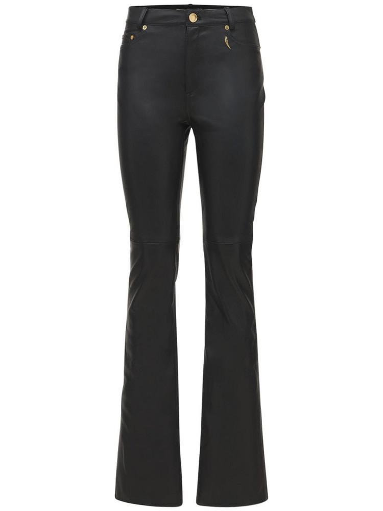 ROBERTO CAVALLI Leather Straight Pants in black