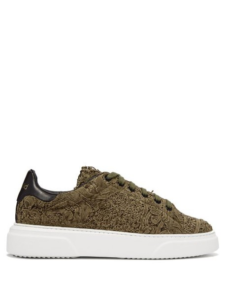 By Walid - 19th Century Panelled Low Top Trainers - Womens - Khaki