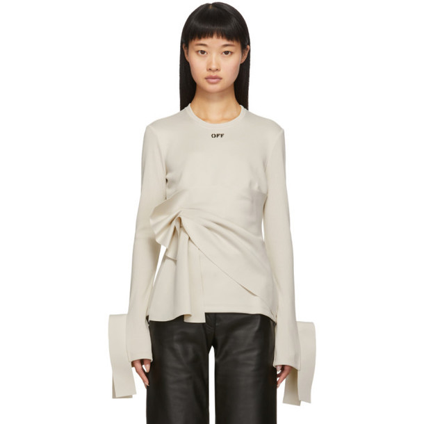 Off-White Beige Wrap Long Sleeve T-Shirt