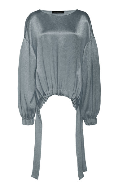 Sally LaPointe Crinkle Satin Drawstring Top Size: XS in blue