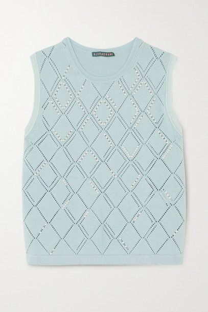 ALEXACHUNG - Faux Pearl-embellished Wool And Cotton-blend Vest - Sky blue