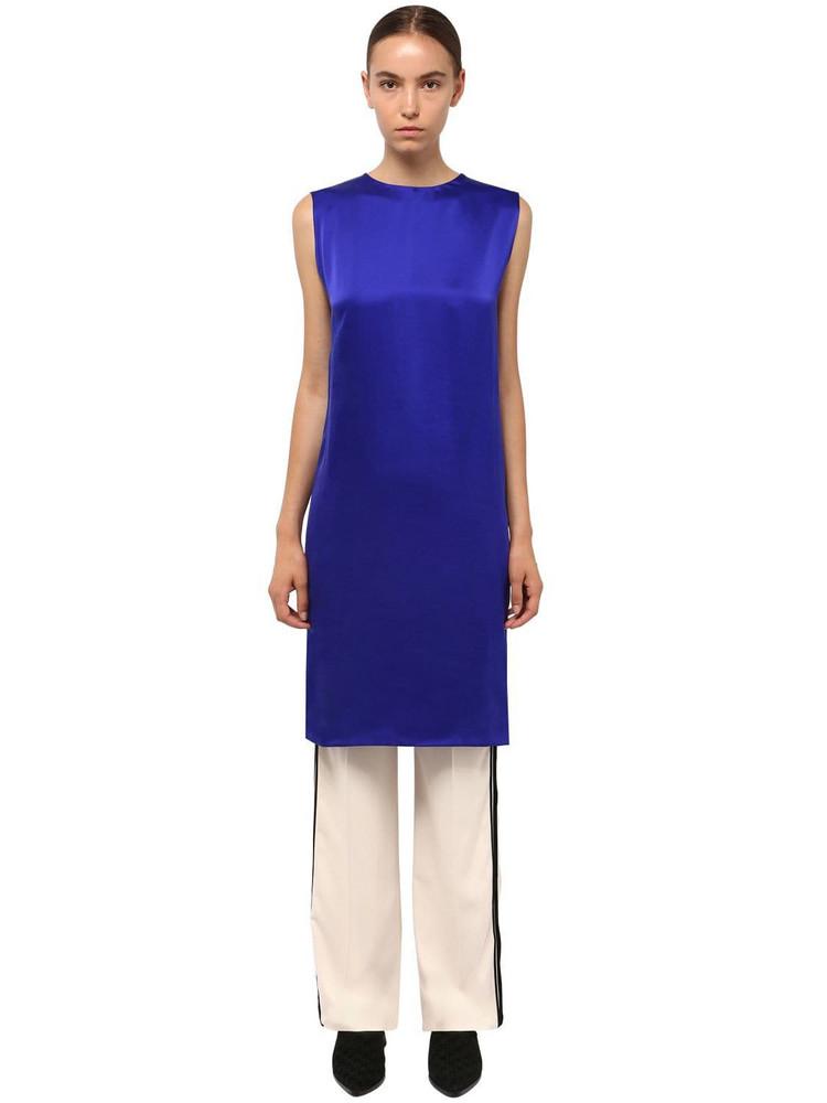 HAIDER ACKERMANN Long Silk Satin Tunic in blue