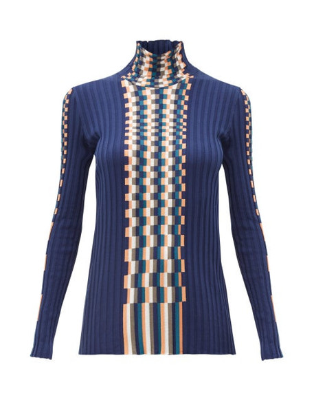 Loewe - Graphic Woven Knit Cotton Sweater - Womens - Blue Multi