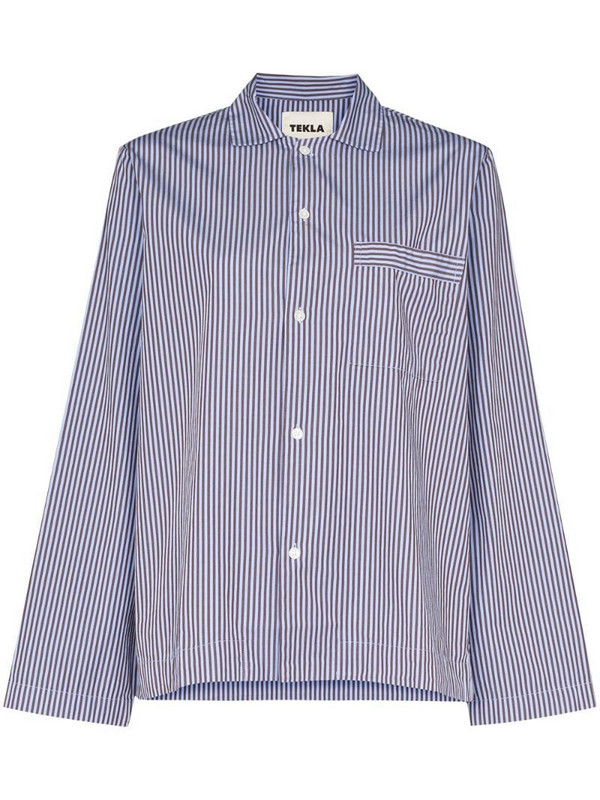 TEKLA striped pyjama shirt in blue