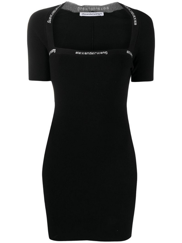 T By Alexander Wang logo-print fitted short dress in black