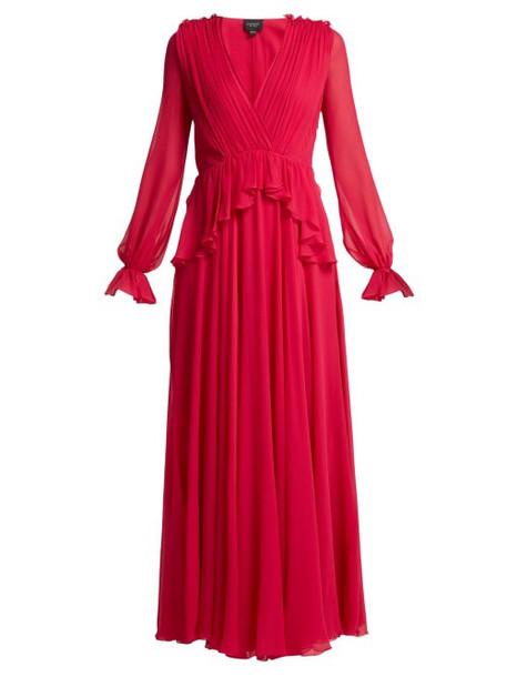 Giambattista Valli - Gathered Silk Chiffon Gown - Womens - Fuchsia