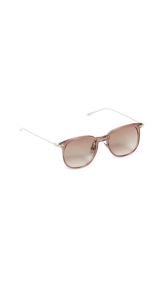 Linda Farrow Luxe Linear Oversized Wayfarer Sunglasses in gold / grey