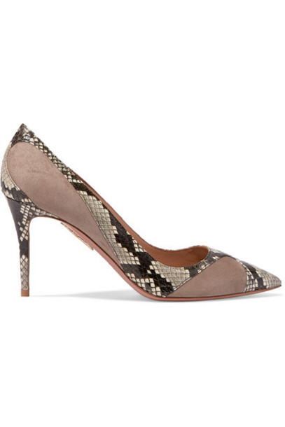 Aquazzura - Satine 85 Elaphe And Suede Pumps - Snake print