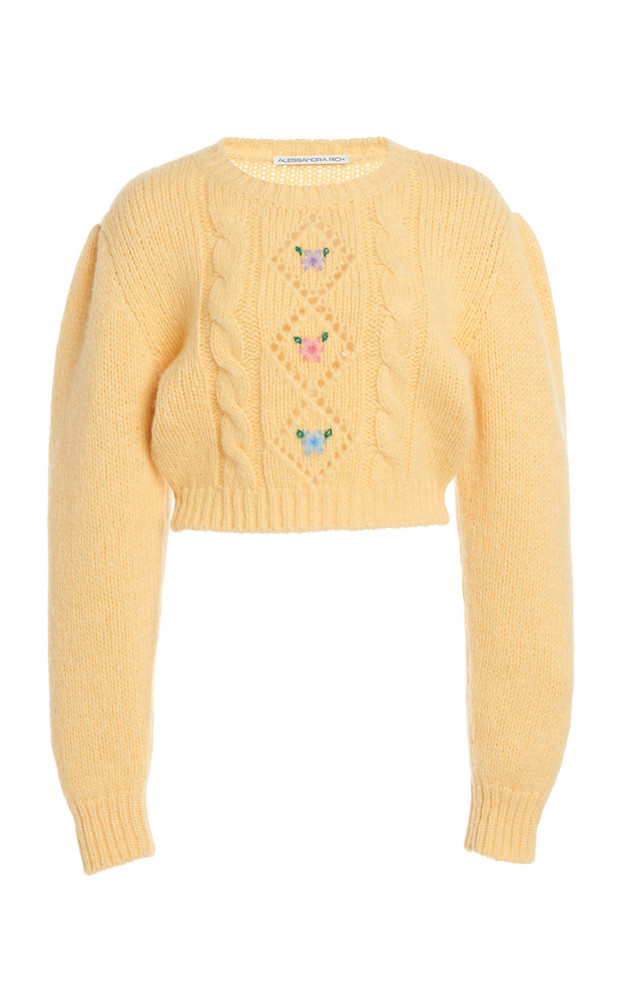 Alessandra Rich Wool Mini Jumper With Floral Details in yellow