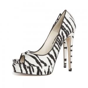 Black and White Zebra Print Peep Toe Platform Heels Pumps