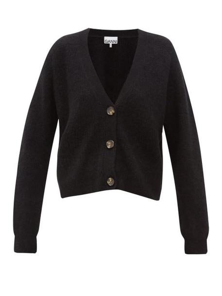 Ganni - Rib Knitted V Neck Cardigan - Womens - Black