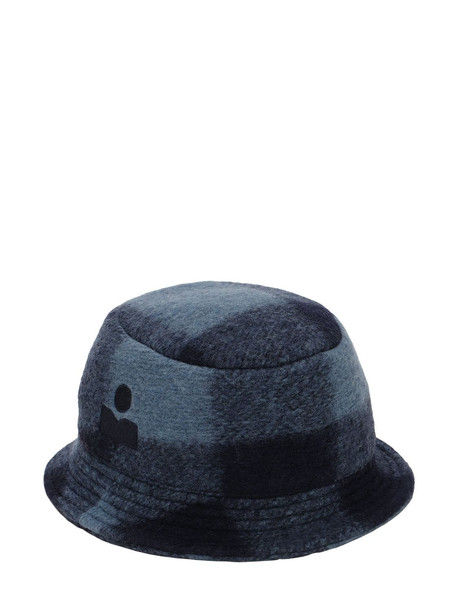 ISABEL MARANT Haley Checked Wool Blend Bucket Hat in midnight