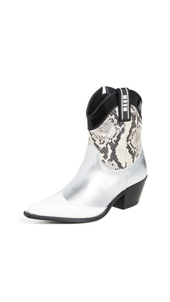 MSGM Cowboy Boots in natural / silver / white