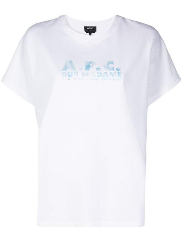 A.P.C. logo print T-shirt in white