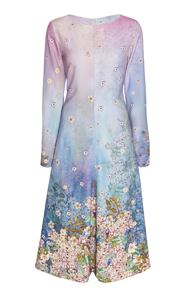 Luisa Beccaria Floral Printed Cady Midi Dress Size: 48