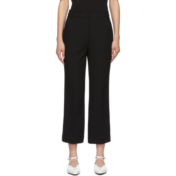 Tibi Black Anson Cropped Bootcut Trousers