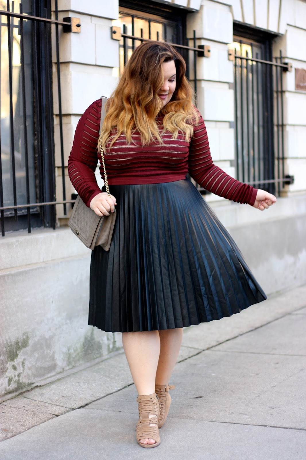 LEATHER PLEATS | Natalie in the City - A Chicago Plus Size Fashion Blog, by Natalie Craig