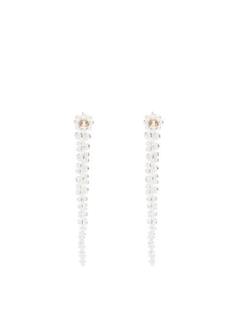 Simone Rocha - Floral Beaded Drop Earrings - Womens - Clear