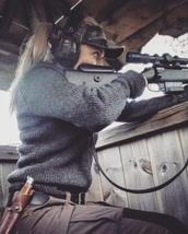 sweater,grey,gun,military style,combat,rifles,shooter,blonde hair,tactical