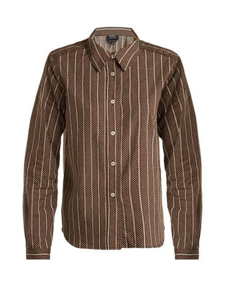 A.P.C. A.p.c. - Mike Cotton And Silk Blend Shirt - Womens - Brown Stripe