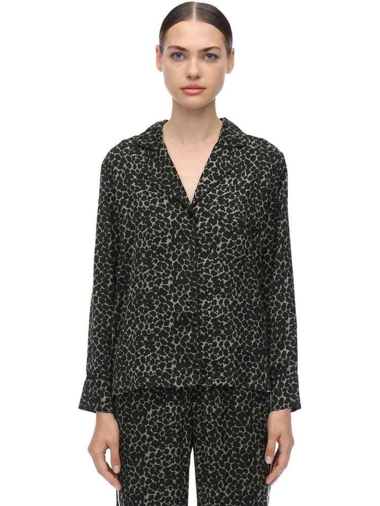 LOVE STORIES Jude L Leopard Print Satin Pajama Shirt in black