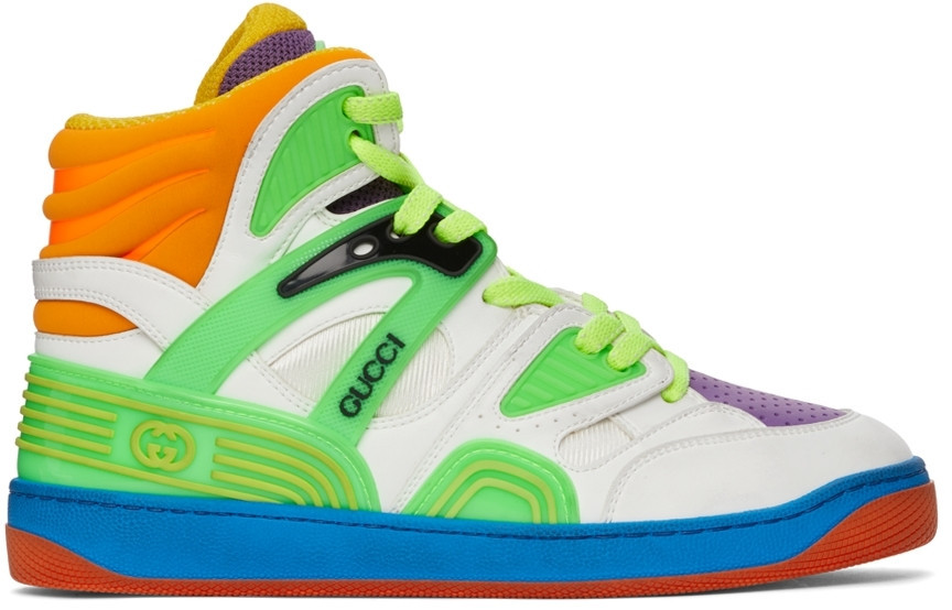 Gucci Multicolor Basket High-Top Sneakers in white