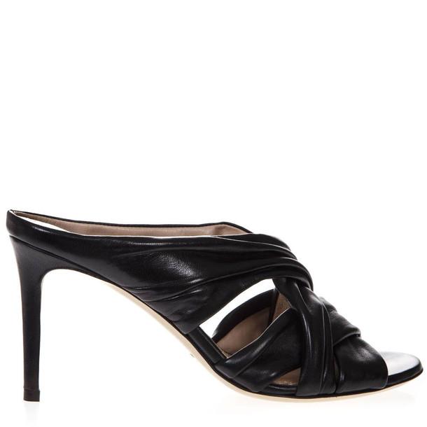 Aldo Castagna 80mm Black Nappa Leather Sandals