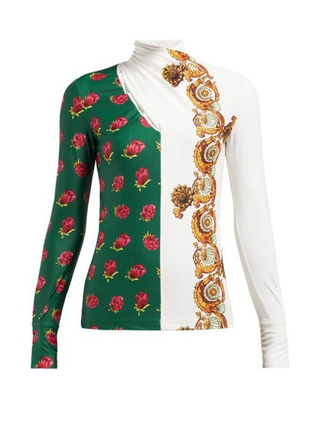 Toga - Floral Print Crossover High Neck Top - Womens - White Print