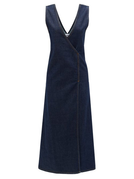 Ganni - Wrap-front Denim Midi Dress - Womens - Dark Denim
