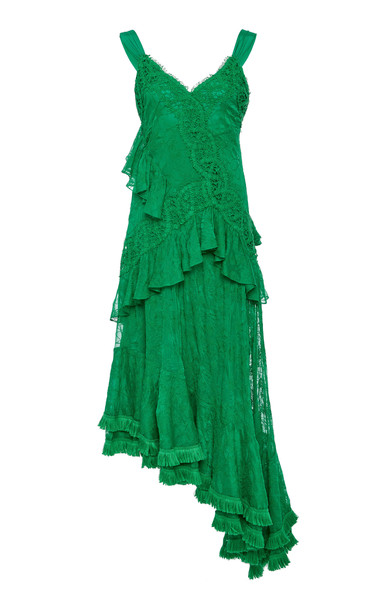 Alexis Bozoma Asymmetrical Midi Dress in green