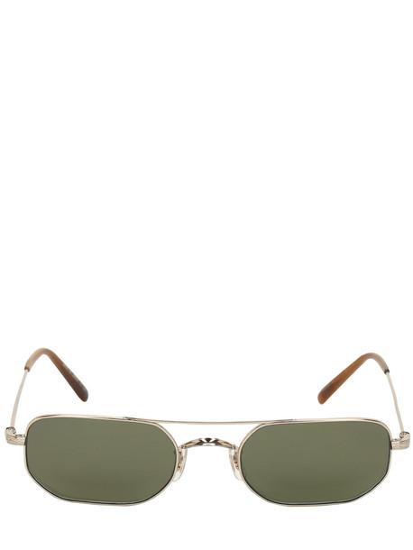 OLIVER PEOPLES Indio Squared Titanium Sunglasses in gold / green