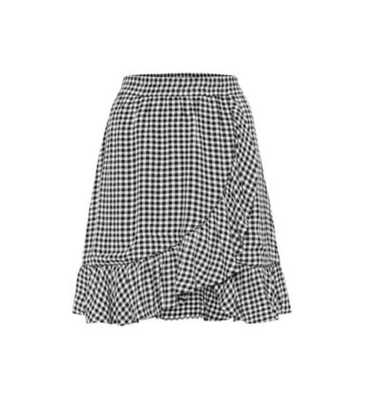 Ganni Gingham crêpe miniskirt