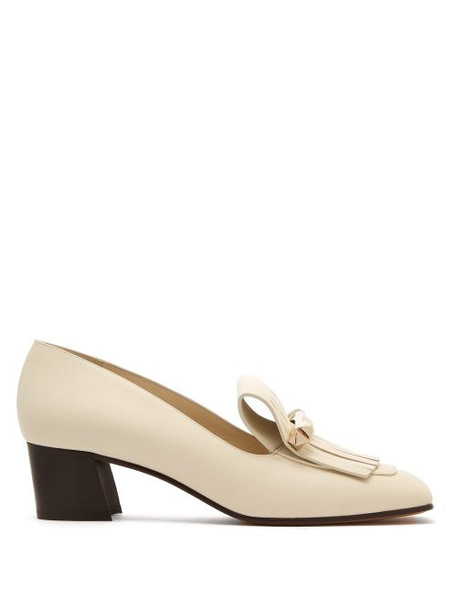 Valentino - Uptown Fringed Leather Loafers - Womens - White