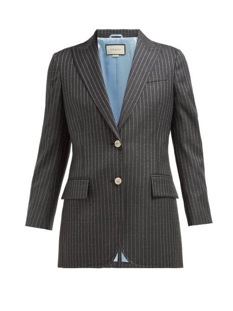 Gucci - Logo Pinstripe Single Breasted Wool Twill Blazer - Womens - Grey Multi