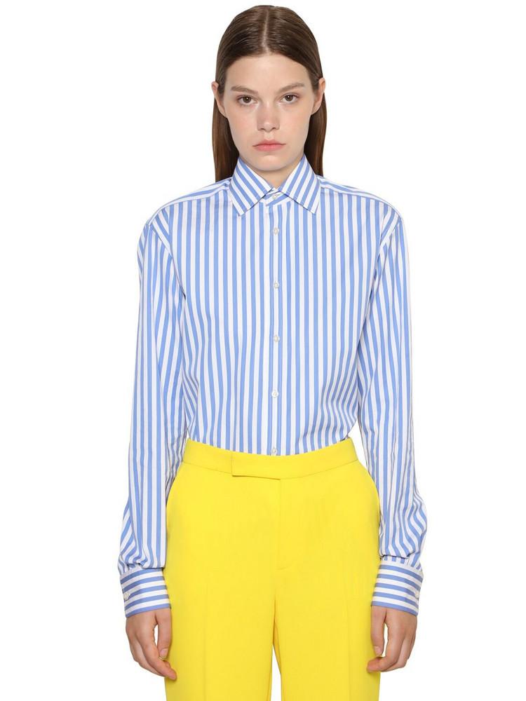 RALPH LAUREN COLLECTION Striped Cotton Poplin Boyfriend Shirt in blue / white