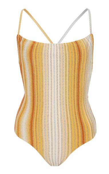 Missoni Mare Vertical Stripe Lurex One Piece Swimsuit Size: 38 in yellow
