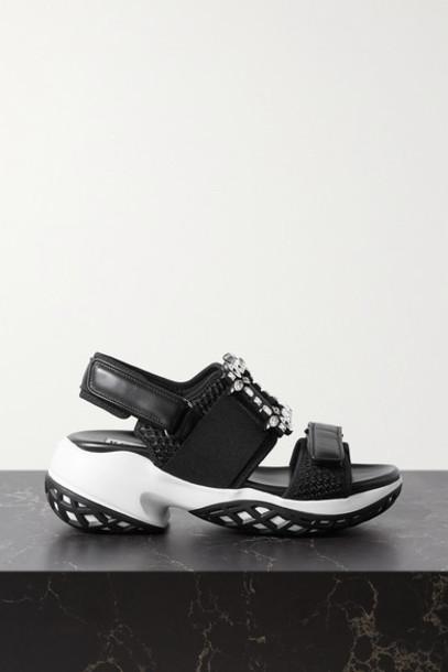 Roger Vivier - Viv Run Crystal-embellished Mesh And Leather Sandals - Black