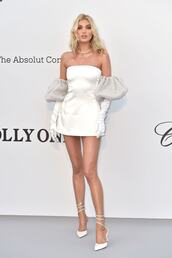 shoes,all white everything,white dress,dress,elsa hosk,cannes,mini dress,pumps,celebrity
