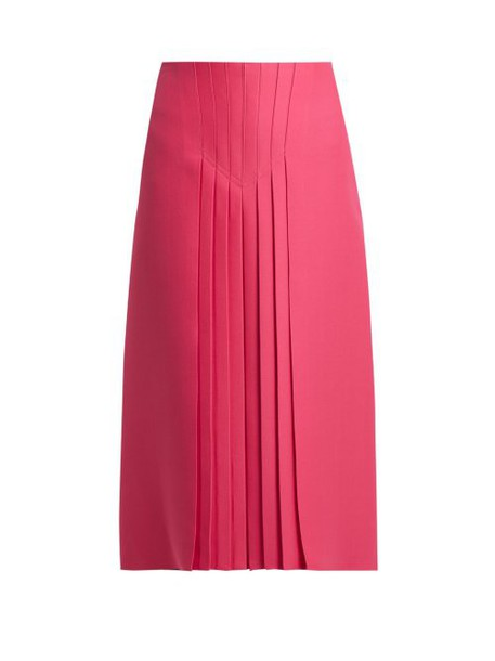 Valentino - Pleated Silk And Wool Blend Skirt - Womens - Pink