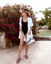 swimwear,one piece swimsuit,black swimwear,chanel,transparent  bag,cover up,white shirt,sun hat