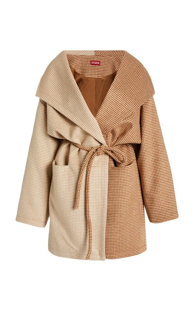 Staud Chiba Two-Toned Wool Coat in brown
