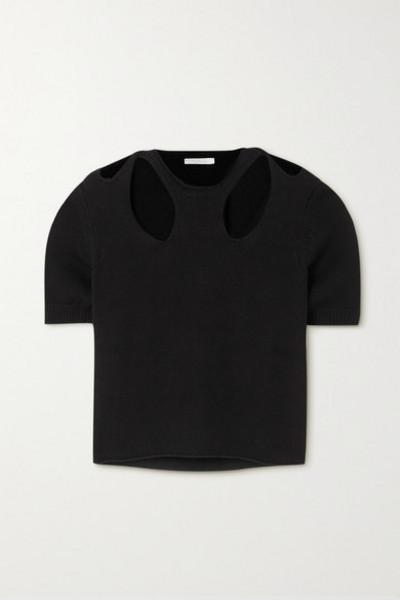 Chloé Chloé - Cutout Cotton And Wool-blend Sweater - Black