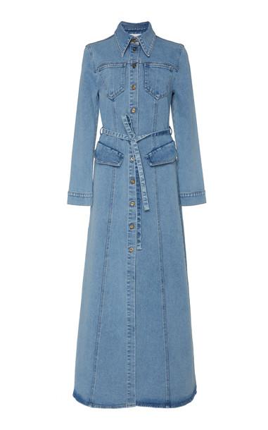 Nanushka Jiaye Denim Shirt Dress in blue