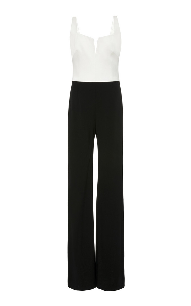 Galvan Eclipse Two-Tone Crepe Jumpsuit in black / white