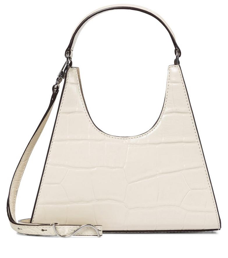 Staud Rey Mini croc-effect leather tote in white
