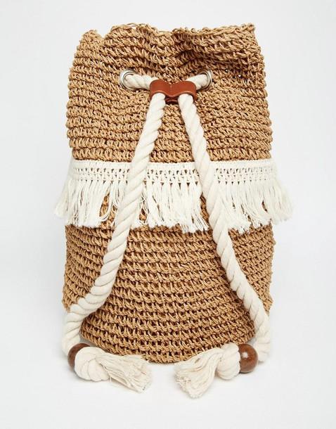 bag backpack raffia drawstring woven backpack