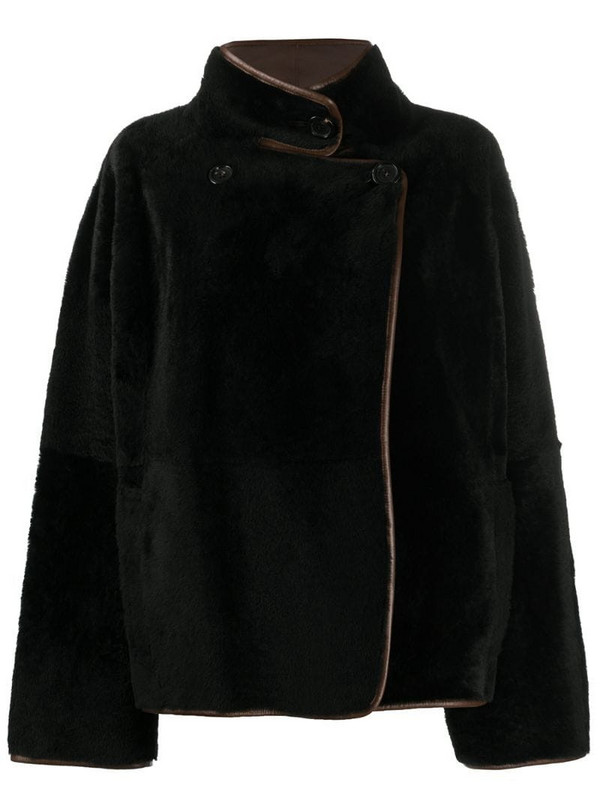 Blancha shearling wrap front jumper in black