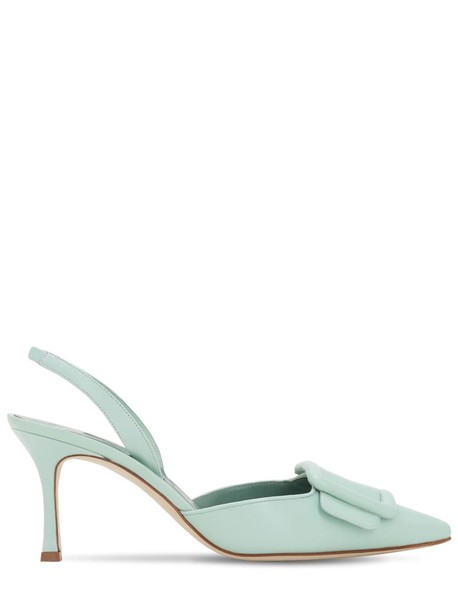 MANOLO BLAHNIK 70mm Maysli Nappa Sling Back Pumps in green